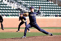 CHAPEL HILL, NC - MARCH 08: Aidan Tyrell #17 of the University of Notre Dame throws a pitch during a game between Notre Dame and North Carolina at Boshamer Stadium on March 08, 2020 in Chapel Hill, North Carolina.