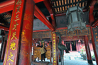 Woman, Pavilion in the Temple of Literature, a Confucius temple, Hanoi, Vietnam, Faithfull,
