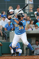 Jesus Sucre #34 of the Myrtle Beach Pelicans at bat during a game against the Frederick Keys on April 30, 2010 in Myrtle Beach, SC.