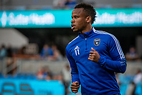 SAN JOSE, CA - AUGUST 13: Jeremy Ebobisse #11 of the San Jose Earthquakes warms up before a game between San Jose Earthquakes and Vancouver Whitecaps at PayPal Park on August 13, 2021 in San Jose, California.