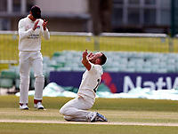 Danny Lamb of Lancashire celebrates taking the wicket of Heino Kuhn during Kent CCC vs Lancashire CCC, LV Insurance County Championship Group 3 Cricket at The Spitfire Ground on 25th April 2021