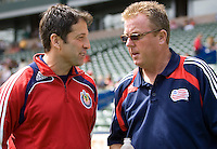 Head coaches of Chivas USA Preki (l) and New England Revolution Steve Nicol (r) chat before the match. Chivas USA defeated the New England Revolution 2-0 at Home Depot Center stadium in Carson, California on Sunday September 13, 2009...