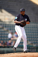 Detroit Tigers pitcher Jairo Labourt (53) delivers a pitch during an exhibition game against the Florida Southern Moccasins on February 29, 2016 at Joker Marchant Stadium in Lakeland, Florida.  Detroit defeated Florida Southern 7-2.  (Mike Janes/Four Seam Images)