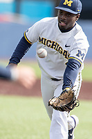 Michigan Wolverines second baseman Ako Thomas (4) on defense against the Western Michigan Broncos on March 18, 2019 in the NCAA baseball game at Ray Fisher Stadium in Ann Arbor, Michigan. Michigan defeated Western Michigan 12-5. (Andrew Woolley/Four Seam Images)