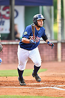 Elizabethton Twins catcher Robert Molina (32) swings at a pitch during a game against the Kingsport Mets at Joe O'Brien Field on August 7, 2018 in Elizabethton, Tennessee. The Twins defeated the Mets 16-10. (Tony Farlow/Four Seam Images)
