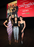 """LOS ANGELES - SEPT 2: Charli D'Amelio, Sunisa Lee, and Dixie D'Amelio attend a screening of Hulu's """"The D'Amelio Show"""" at NeueHouse Rooftop Hollywood on September 2, 2021 in Los Angeles, California. (Photo by Frank Micelotta/Hulu/PictureGroup)"""