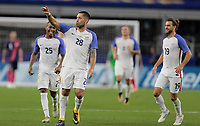 Arlington, TX - Saturday July 22, 2017: Clint Dempsey celebrates his goal during a 2017 Gold Cup Semifinal match between the men's national teams of the United States (USA) and Costa Rica (CRC) at AT&T stadium.
