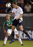 Abby Wambach of USA (R) during the semifinal match of CONCACAF Women's World Cup Qualifying tournament held at Estadio Quintana Roo in Cancun, Mexico. Mexico 2, USA 1.