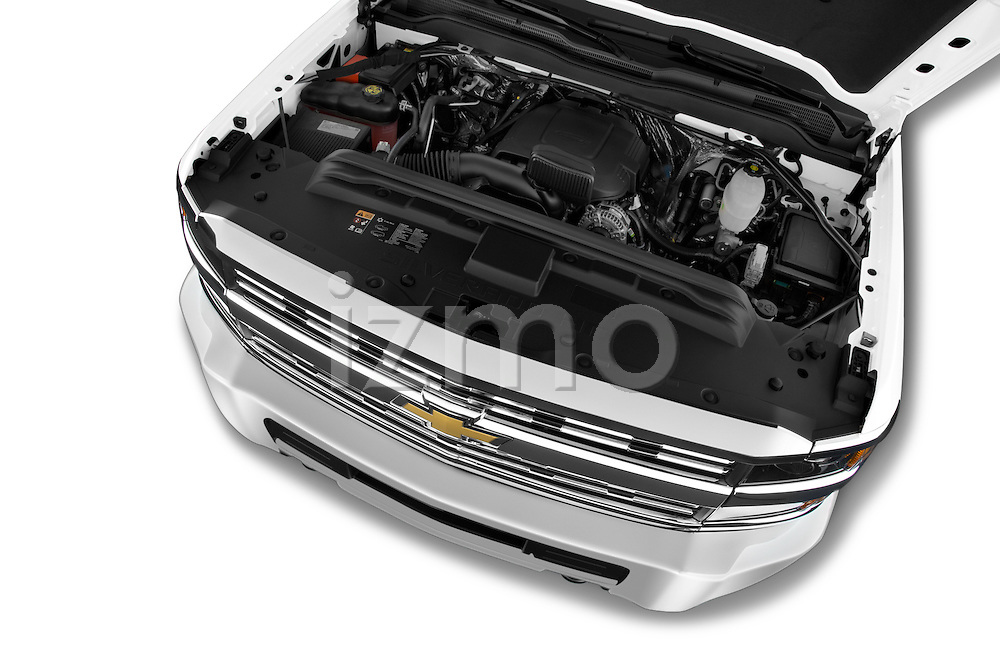 Car Stock 2015 Chevrolet Silverado 2500 HD Work Truck Double Cab LWB 4 Door  Engine high angle detail view