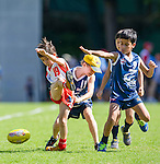 Players in action during the Hong Kong Junior Australian Football League Round 1 at the Kowloon Cricket Club on 02 June 2013 in Hong Kong, China. Photo by Victor Fraile / The Power of Sport Images