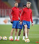 07.11.18 Rangers training at the Spartak Stadium, Moscow: Joe Worrall and Gareth McAuley