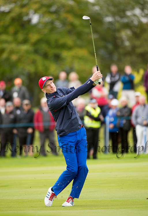 American Jim Furyk plays his approach to the 11th Green during a practice session at Gleneagles Golf Course, Perthshire. Photo credit should read: Kenny Smith/Press Association Images.