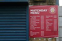 The matchday menu awaits the return of fans to the ground during Stevenage vs Swansea City, Emirates FA Cup Football at the Lamex Stadium on 9th January 2021