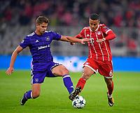 12.09.2017,  Football Champions League 2017/2018, FC Bayern Muenchen - RSC Anderlecht, in Allianz-Arena Muenchen. v.li: Leander Dedoncker (RSC Anderlecht)  -  Thiago (FC Bayern Muenchen). *** Local Caption *** © pixathlon<br /> <br /> +++ NED + SUI out !!! +++<br /> Contact: +49-40-22 63 02 60 , info@pixathlon.de