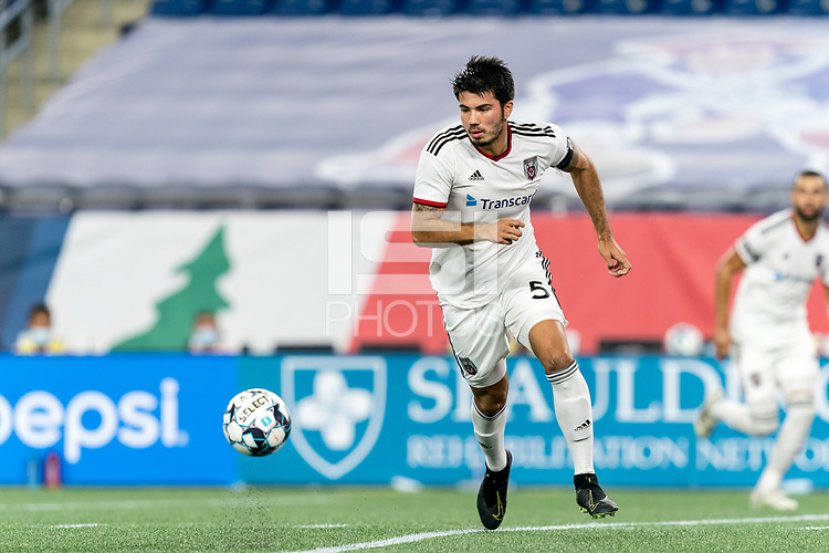 FOXBOROUGH, MA - SEPTEMBER 09: Leo Folla #5 of Chattanooga Red Wolves SC dribbles at midfield during a game between Chattanooga Red Wolves SC and New England Revolution II at Gillette Stadium on September 09, 2020 in Foxborough, Massachusetts.