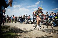 Belgian Champion Jens Debusschere (BEL/Lotto-Soudal) over sector 6A: Bourghelles à Wannehain (1.1km)<br /> <br /> 113th Paris-Roubaix 2015