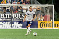 FOXBOROUGH, MA - AUGUST 18: Frederic Brillant #13 of D.C. United brings the ball forward during a game between D.C. United and New England Revolution at Gillette Stadium on August 18, 2021 in Foxborough, Massachusetts.