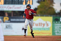 Mahoning Valley Scrappers catcher Jason Rodriguez (20) runs the bases during a game against the Batavia Muckdogs on August 18, 2017 at Dwyer Stadium in Batavia, New York.  Mahoning Valley defeated Batavia 8-2.  (Mike Janes/Four Seam Images)