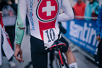 Marc Hirschi (SUI) crashed along the way<br /> <br /> MEN UNDER 23 INDIVIDUAL TIME TRIAL<br /> Hall-Wattens to Innsbruck: 27.8 km<br /> <br /> UCI 2018 Road World Championships<br /> Innsbruck - Tirol / Austria