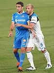 Getafe CF's Jaime Mata (l) and Atalanta BC's Andrea Masiello during friendly match. August 10,2019. (ALTERPHOTOS/Acero)