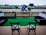 October 2, 2020: Thousand Words returns to the barn after exercising as horses prepare for the Preakness Stakes at Pimlico Race Course in Baltimore, Maryland. Scott Serio/Eclipse Sportswire/CSM