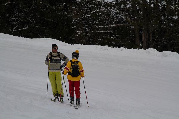 Skiers at St Anton, Austria, Europe 2014,