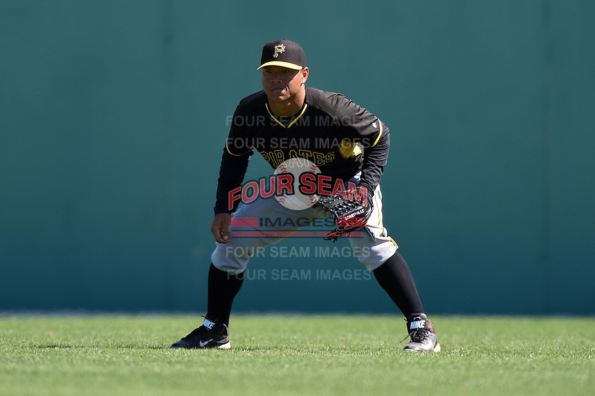 Pittsburgh Pirates outfielder Harold Ramirez (88) during a minor league spring training intrasquad game on March 30, 2014 at Pirate City in Bradenton, Florida.  (Mike Janes/Four Seam Images)
