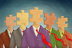 Illustrative image of businessmen with puzzle head representing solution and teamwork