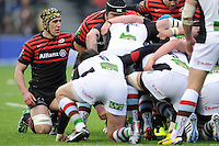20130324 Copyright onEdition 2013©.Free for editorial use image, please credit: onEdition..Kelly Brown of Saracens scrums down during the Premiership Rugby match between Saracens and Harlequins at Allianz Park on Sunday 24th March 2013 (Photo by Rob Munro)..For press contacts contact: Sam Feasey at brandRapport on M: +44 (0)7717 757114 E: SFeasey@brand-rapport.com..If you require a higher resolution image or you have any other onEdition photographic enquiries, please contact onEdition on 0845 900 2 900 or email info@onEdition.com.This image is copyright onEdition 2013©..This image has been supplied by onEdition and must be credited onEdition. The author is asserting his full Moral rights in relation to the publication of this image. Rights for onward transmission of any image or file is not granted or implied. Changing or deleting Copyright information is illegal as specified in the Copyright, Design and Patents Act 1988. If you are in any way unsure of your right to publish this image please contact onEdition on 0845 900 2 900 or email info@onEdition.com