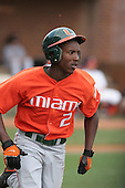Jemile Weeks of the Miami Hurricanes vs. the Virginia Cavaliers: March 24th, 2007 at Davenport Field in Charlottesville, VA.  Photo copyright Mike Janes Photography 2007.