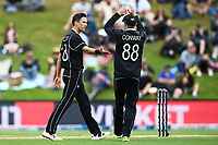 20th March 2021; Dunedin, New Zealand;  Trent Boult celebrates the wicket of Soumya Sarkar with Devon Conway during the New Zealand Black Caps v Bangladesh International one day cricket match. University Oval, Dunedin.