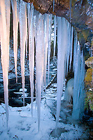 Massive Icicles formed onto a Limestone Overhang, Dunnfield Creek, Worthington State Forest, National Recreation Area, Delaware Water Gap, New Jersey
