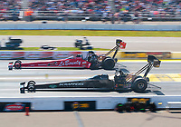 Aug 18, 2019; Brainerd, MN, USA; NHRA top fuel driver Mike Salinas (near) alongside Doug Kalitta during the Lucas Oil Nationals at Brainerd International Raceway. Mandatory Credit: Mark J. Rebilas-USA TODAY Sports
