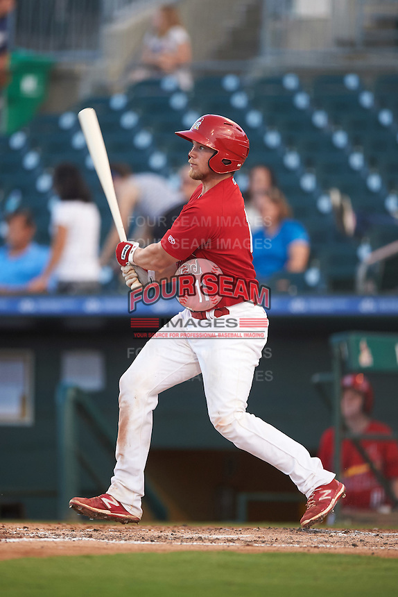 Palm Beach Cardinals catcher Steve Bean (11) at bat during a game against the Jupiter Hammerheads  on August 12, 2016 at Roger Dean Stadium in Jupiter, Florida.  Jupiter defeated Palm Beach 9-0.  (Mike Janes/Four Seam Images)