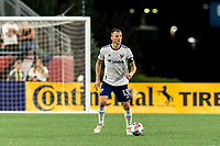 FOXBOROUGH, MA - AUGUST 18: Frederic Brillant #13 of D.C. United looks to pass during a game between D.C. United and New England Revolution at Gillette Stadium on August 18, 2021 in Foxborough, Massachusetts.