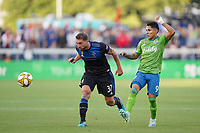 SAN JOSE, CA - SEPTEMBER 30: Guram Kashia #37 of the San Jose Earthquakes is marked by Raul Ruidiaz #9 of the Seattle Sounders FC during a Major League Soccer (MLS) match between the San Jose Earthquakes and the Seattle Sounders on September 30, 2019 at Avaya Stadium in San Jose, California.