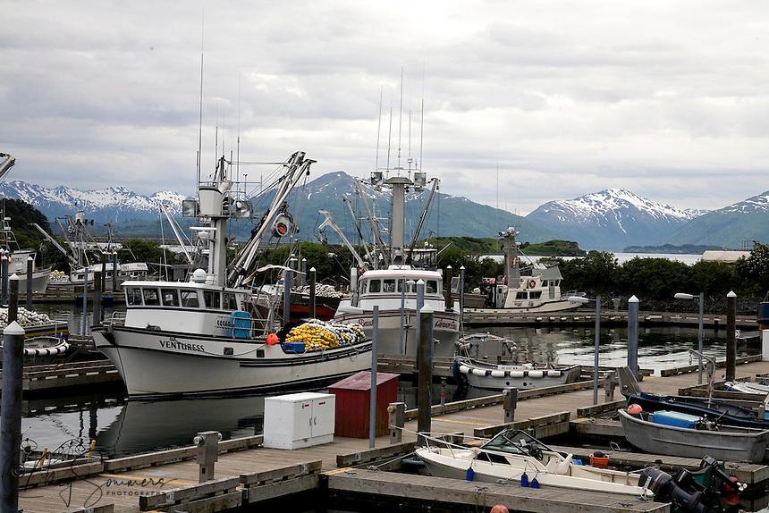 St. Paul Boat Harbor, one of two harbors in Kodiak which are home to its massive fishing fleet. Kodiak, Alaska