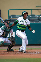 South Florida Bulls left fielder Chris Chatfield (37) at bat in front of catcher Adam Gauthier during a game against the Dartmouth Big Green on March 27, 2016 at USF Baseball Stadium in Tampa, Florida.  South Florida defeated Dartmouth 4-0.  (Mike Janes/Four Seam Images)