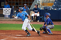 Charlotte Stone Crabs shortstop Willy Adames (2) at bat in front of catcher Derrick Chung during a game against the Dunedin Blue Jays on July 26, 2015 at Charlotte Sports Park in Port Charlotte, Florida.  Charlotte defeated Dunedin 2-1 in ten innings.  (Mike Janes/Four Seam Images)
