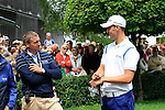 Martin Kaymer chats with BMW's  Marco Kaussler on the 1st tee before starting his round during of Day 3 of the BMW International Open at Golf Club Munchen Eichenried, Germany, 25th June 2011 (Photo Eoin Clarke/www.golffile.ie)