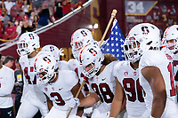 LOS ANGELES, CA - SEPTEMBER 11: Football Team before a game between University of Southern California and Stanford Football at Los Angeles Memorial Coliseum on September 11, 2021 in Los Angeles, California.