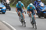 Omar Fraile Matarranz and Alex Aranburu Deba (ESP) Astana-Premier Tech attack on the descent of Ukaregi during Stage 5 of the Itzulia Basque Country 2021, running 160.2km from Hondarribia to Ondarroa, Spain. 9th April 2021.  <br /> Picture: Luis Angel Gomez/Photogomezsport | Cyclefile<br /> <br /> All photos usage must carry mandatory copyright credit (© Cyclefile | Luis Angel Gomez/Photogomezsport)