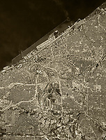 historical aerial photo map of Cleveland, Ohio, 1977