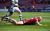 24th April 2021; Kingsholm Stadium, Gloucester, Gloucestershire, England; English Premiership Rugby, Gloucester versus Newcastle Falcons; Willi Heinz of Gloucester scores their third try