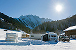 Austria, Tyrol, Ziller Valley Arena, Gerlos: popular ski resort at Gerlos Valley, winter campground | Oesterreich, Tirol, Zillertal-Arena, Gerlos: beliebter Skiort im Gerlostal, Wintercamping