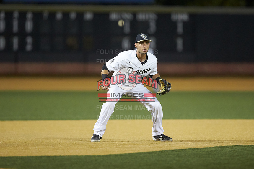 Wake Forest Demon Deacons third baseman Bruce Steel (17) on defense against the North Carolina State Wolfpack at David F. Couch Ballpark on April 18, 2019 in  Winston-Salem, North Carolina. The Demon Deacons defeated the Wolfpack 7-3. (Brian Westerholt/Four Seam Images)