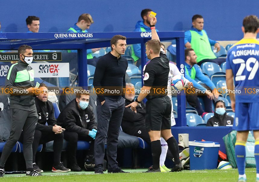 Sam Ricketts manager of Shrewsbury Town shown a yellow card during AFC Wimbledon vs Shrewsbury Town, Sky Bet EFL League 1 Football at The Kiyan Prince Foundation Stadium on 17th October 2020
