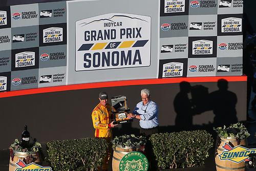 Ryan Hunter-Reay celebrates the win, Andretti Autosport Honda