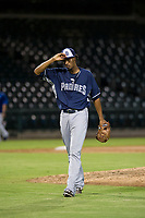 AZL Padres relief pitcher Starlin Cordero (56) walks off the field between innings of the game against the AZL Cubs on August 28, 2017 at Sloan Park in Mesa, Arizona. AZL Cubs defeated the AZL Padres 2 9-4. (Zachary Lucy/Four Seam Images)