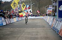 Mathieu Van der Poel (NLD) takes the time to take it in... 2015 Elite CX World Champion! ...only weeks after turning 20 yrs old.<br /> <br /> Elite Men's race<br /> <br /> 2015 UCI World Championships Cyclocross <br /> Tabor, Czech Republic